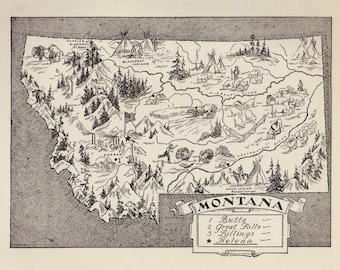 50's MONTANA Picture Map Pictorial State Map Print Black and White Gallery Wall Art Map Collector Gift For Traveler Birthday Wedding