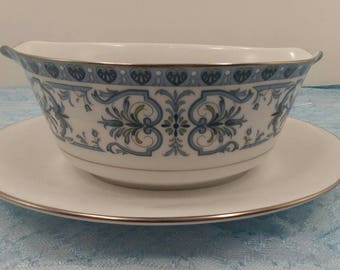 Noritake Gravy Boat with attached Under Plate in the Burlington 2081 Pattern