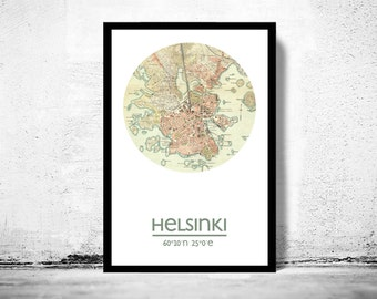 HELSINKI - city poster - city map poster print