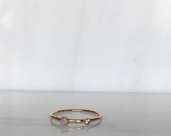 Opal Duet ring, 14k Diamond and opal Ring, Mini opal Ring, Two Stone Band, Stacking Bands, Stacking Rings, 14k Gold Band
