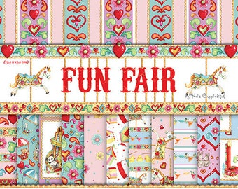 LOT 48 sheet paper flowers fair circus kids SCRAPBOOKING SCRAP card 15 X 15 cm
