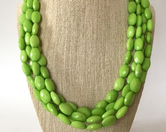 Lime Green Chunky Statement Necklace