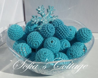 20mm. 10CT, Chunky Sky Blue Crochet Beads, 20mm Chunky Sky Blue Crochet Bubblegum beads, F19