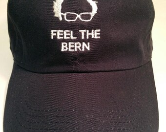 Feel The Bern Bernie Sanders 2020 Hat Cap DEMOCRATIC Presidential Nominee adjustable. Embroidered in USA.
