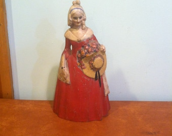 Antique Cast Iron Doorstop Colonial Victorian Lady With Hat and Flowers