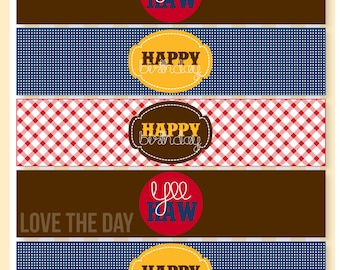 Gingham Cowboy Party PRINTABLE Drink Labels (INSTANT DOWNLOAD) by Love The Day