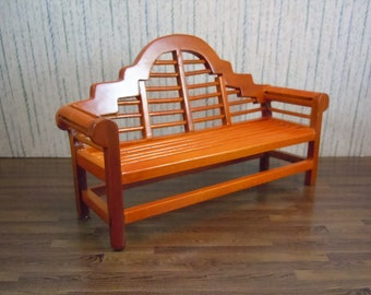 Dollhouse Miniature furniture in twelfth scale or 1:12 scale.  Long garden sofa/bench.  Item  #C125.