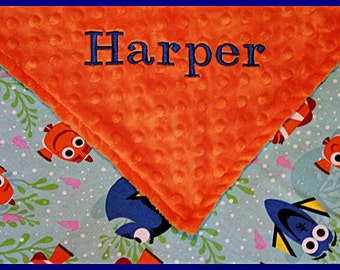 Baby Blankets~Nemo Nursery~Disney Dory~Toddler Lovey~Personalized Blanket for Babies~Personalized Name~