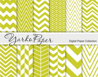 Chartreuse Chevron Digital Paper Pack, Chevron Scrapbook Paper, Digital Background, 12 Sheets, Personal And Commercial - Instant Download
