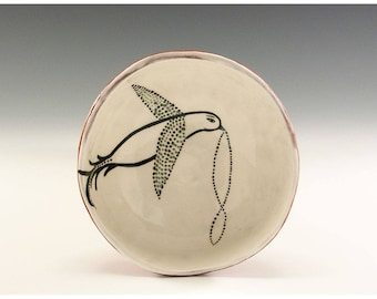 Bird Holding Infinity - Original Painting by Jenny Mendes in a Hand Pinched Ceramic Finger Bowl