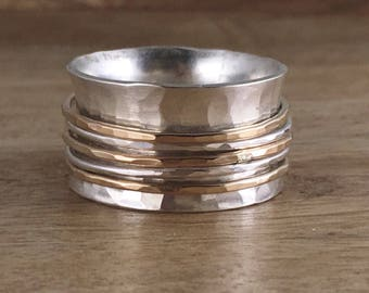 Sterling Silver and Gold Spinner Ring - Mixed Metal - Fiddle Ring - Worry Ring - Silver Band Ring  - Hammered Silver - Silver and