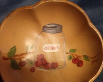 Tole cherries jar wooden bowl painting