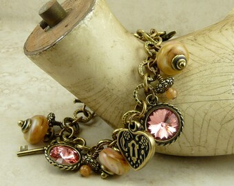 Mothers Day Victorian Inspired Charm Bracelet - Valentines Day Lampwork Bead and Vintage Brass Ox Charms - I ship Internationally