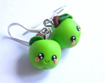 Green Apple Earrings, Green Earrings, Fruit Earrings, Fruit Jewelry, Miniature Food Jewelry, Cute Earrings, Kawaii Earrings, Funny Earrings