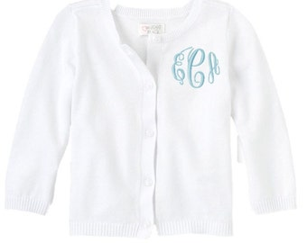Monogrammed Sweater Kids Child Girls Cardigan Monogram Uniform White Navy Black