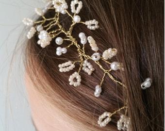 Peach flower girl crown, flower girl headband, girl's hair accessory, bridesmaid hair vine, flower girl hair, pearl hair vine, wedding halo