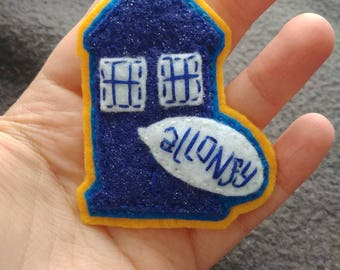 """Hand-sewn TARDIS pin, 10th Doctor """"Allons-y"""""""