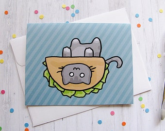 Taco Cat Greeting Card Funny Greeting Card Cute Note Anytime Card Silly Cat Lover Boyfriend Girlfriend Any Occasion Blank Card