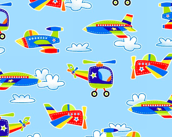 Airplanes & Helicopters - Air Show by First Blush Studio from Henry Glass Fabrics - Air Show Fabrics - Henry Glass Fabrics - Kids Fabrics