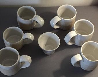 Mug white glaze on flecked Stoneware ceramic