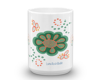 Mug Green Orange Flowers