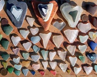 HEART SMORGASBORG - 120 Scottish Sea Glass/Ceramic/Slate Hearts by SeaFindsScotland Wedding Supplies Wedding Favors Craft/Jewllery Supplies