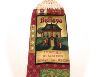 Believe House Hand Towel With Aran Crocheted Top