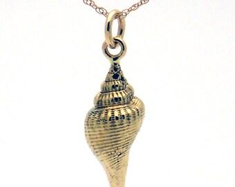 Solid 14k yellow gold seashell pendant