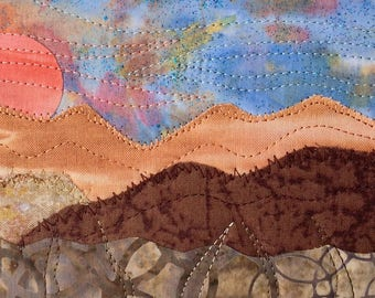 Hostess Gift - Mountain Landscape - Fabric Mountain Sunset - Rustic Art - Quilted Postcard - Gift for Her - Vacation Memory - Housewarming