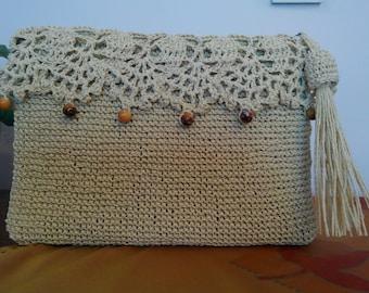 Straw colour knitted clutch bag, natural raffia bag, clutch bag, knitted purses, everyday bag, crochet raffia purse, SEVİLDENStore