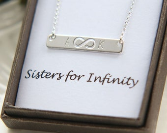 SALE, Sisters Necklace, Bar Necklace, Sterling Silver Bar Necklace, Infinity Necklace, Initial Bar Necklace, Personalized Bar Necklace