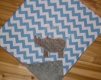 Rhino - Blue Chevron & Minky Baby Blanket with Embroidered Rhino