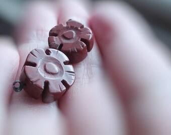 14mm Carved Jasper beads flower beads set of two jasper beads center drilled beads