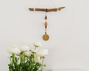 Boho chic brass and wood delicate wall hanging