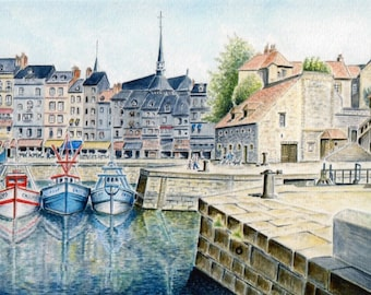 REPRODUCTION of my original watercolor: the old harbour of Honfleur.