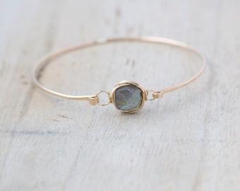 Labradorite Gold Bracelet , Bezel Wrapped , 14K Gold Filled Cuff , Sterling Silver , Rose Gold , Minimalist Fashion
