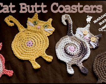 Cat Butt Coasters Set of 4 - Unique gift - Four Cup Coasters -