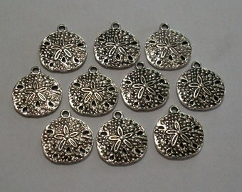 50 Pieces Antique Silver Sand Dollar Charm, 20 x 18mm