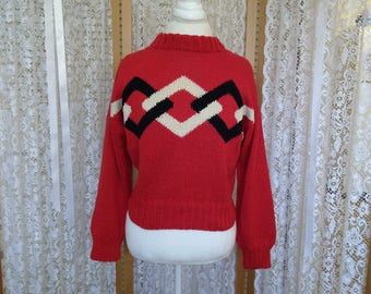 Vintage. Red cotton intarsia sweater with black and cream diamond pattern. Size S/M.