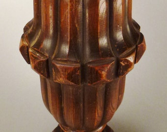 CARVED WOOD FLUTED Table Leg very heavy Pinapple look Mohagony 14 in tall 6 in diam Sculptural