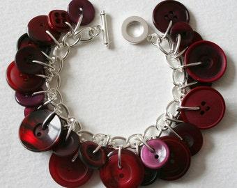 Button Bracelet Burgundy Wine Red