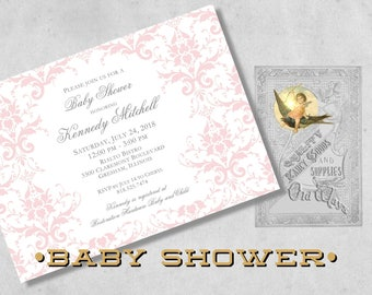 Pink Damask Baby Girl Shower Invitations - Elegant Printed Baby Shower Invitations for a Girl in Pink, White and Silver Grey