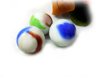 Agate marbles - marble lot - Shooters, glass marble , Vintage Glass Marble --  game marbles - Large Marbles, lot of 3  # 25