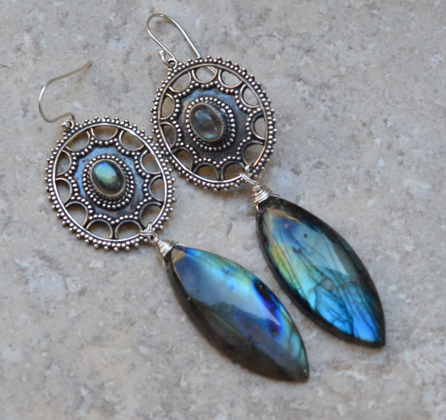 Extra large labradorite sterling silver earrings. Spectacular blue labradorite earrings. Silversmith. Art Deco Style. Fine Jewelry.