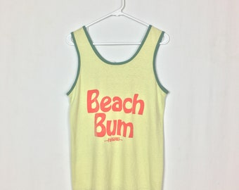 Vintage 1970s Soft & Thin Tank Top / Beach Bum Hawaii / Yellow and Green / 70s Tank