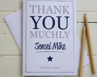 Personalised Thank you card - Thank you muchly. You're a star