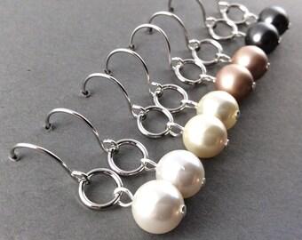 pearl earrings | bridesmaid jewelry | bridesmaid | drop pearl earrings | bridal pearl necklace | grey pearls | ivory pearls | drop pearl