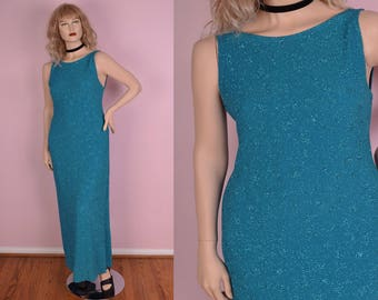 90s Aqua Glitter Maxi Dress/ US 10/ 1990s/ Tank/ Sleeveless/ Prom/ Evening/ Formal