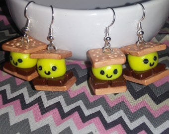 Handmade fake food smores earrings
