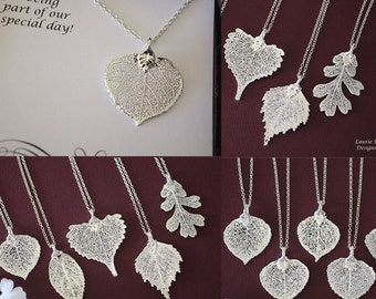 8 Leaf Bridesmaid Necklaces Silver, Bridesmaid Gift,Thank You Necklace, Real Leaf Necklace, Aspen Leaf, Sterling Silver Necklace, Leaves